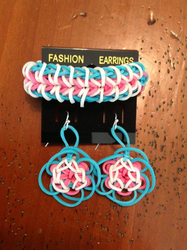 Fashion Earrings and Bracelet. Rainbow Loom is a plastic loom used to weave colorful rubber bands into bracelets and charms. It is one of the top gifts for kids.