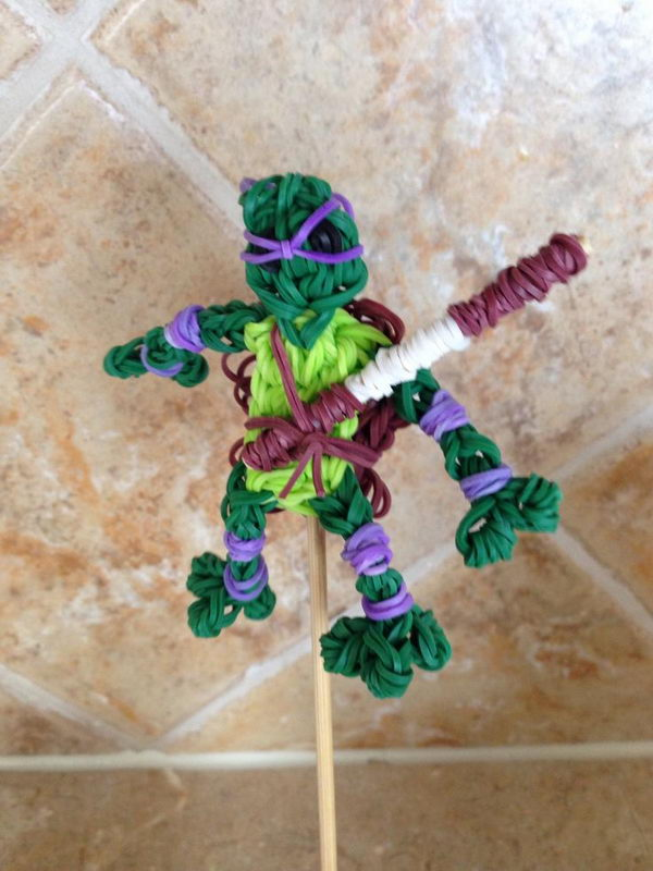 Rainbow Loom Charms Ninja Turtle. Rainbow Loom is a plastic loom used to weave colorful rubber bands into bracelets and charms. It is one of the top gifts for kids.