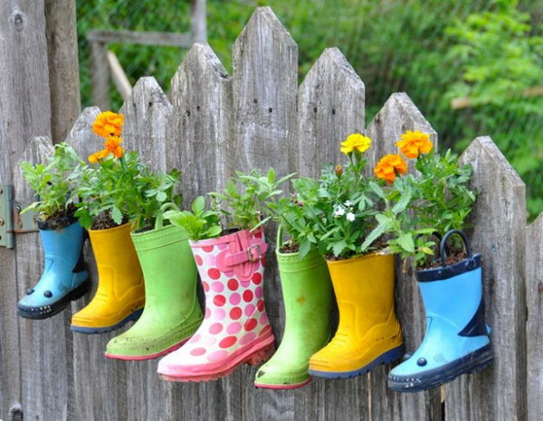 Rain boots gardening. These container gardening ideas offer a great way to brighten your surroundings immediately. Make your home look different unique and interesting.