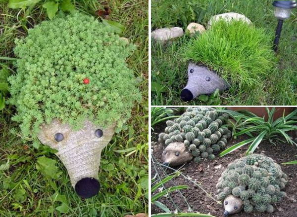 Funny hedgehogs garden pots. These container gardening ideas offer a great way to brighten your surroundings immediately. Make your home look different unique and interesting.