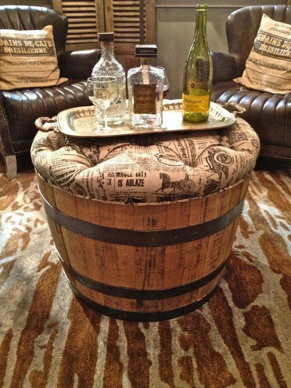 Vintage Repurposed Wine Barrel Ottoman.