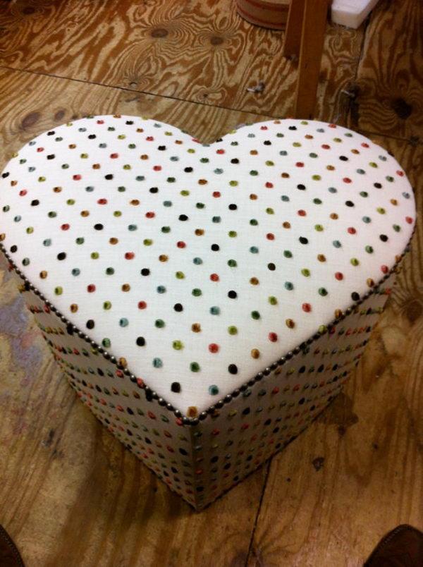 Cute Heart Shaped Ottoman.