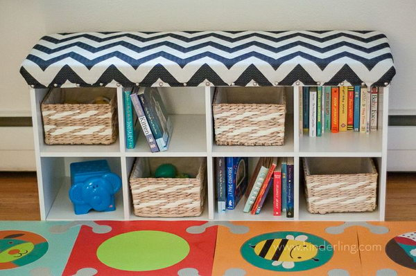 Cube shelving storage bench. Allow you to store books, shoes and other items in the bench, and sit on it while having the supply's in the compartments.