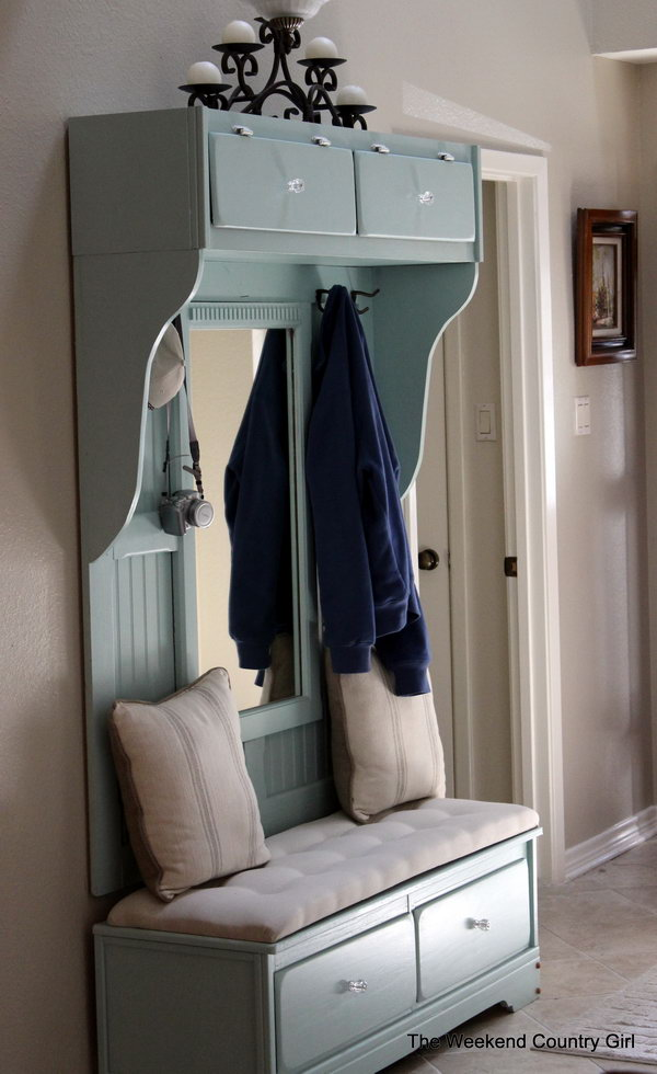Dresser bench. Allow you to store books, shoes and other items in the bench, and sit on it while having the supply's in the compartments.