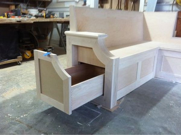 Kitchen bench seat. Allow you to store books, shoes and other items in the bench, and sit on it while having the supply's in the compartments.