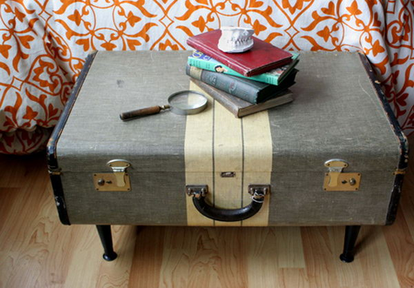 Vintage suitcase storage bench. Allow you to store books, shoes and other items in the bench, and sit on it while having the supply's in the compartments.