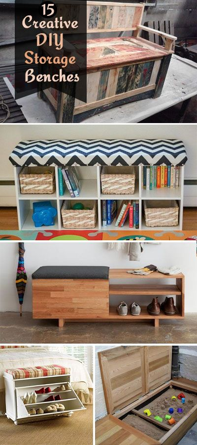 These creative diy storage benches allow you to sit on it while storing book, shoes and other items in the compartments.