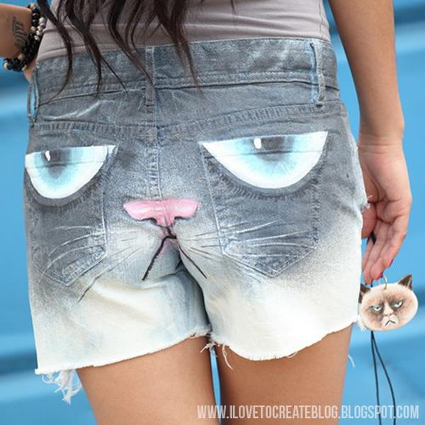 Grumpy Cat Jeans Shorts. Decorate your old shorts with colored ropes, wire, buttons or zippers, denim, sequins, silk and lace and what ever you like. It is fun and inspiring to make some creative shorts for yourself.