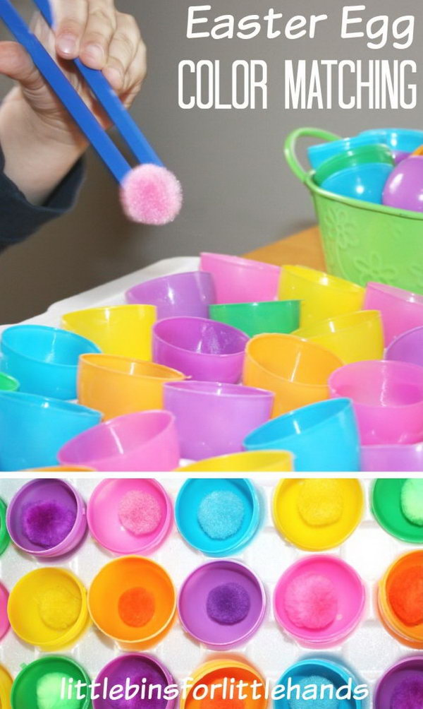 Easter Egg Color Matching. Use the kids-friendly chopsticks to grab the pom pom and put it into the Easter egg half of the same color. This simple matching game is a good way to train your motor skills.