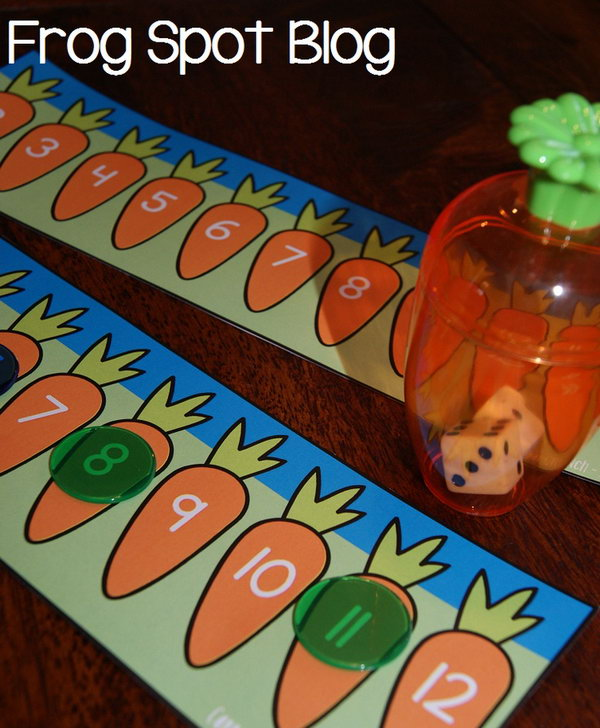 Carrot Crunch Easter Activity.Use mini carrot containers to pop two dices inside, shake it and see the numbers they display. Add 2 dice numbers to point out the correct carrot with the same number.