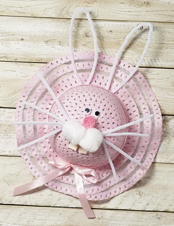Cute Bunny Easter Bonnet. Try this cute bunny by applying pipe cleaners to make its whiskers as well as ears, glue its rectangle teeth and goodly eyes. Secure the bow ribbons for some decoration. Well, an adorable bunny is ready to greet you.