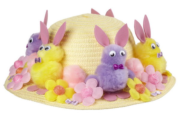 Bunny Parade Bonnet. Create the bunny body by sticking pom-poms of two different sizes, glue the eyes ,the bow and the ears from the pink sheets of foam. Decorate all the bunnies, flower embellishments on the plain hat.