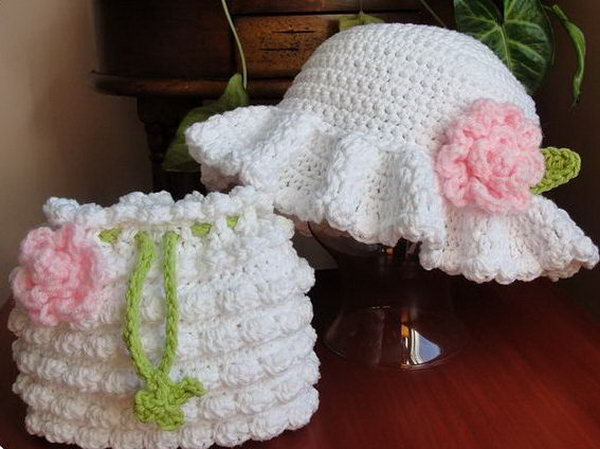 Easter Bonnet Dressy Hat. This adorable ester bonnet dressy hat is so well-refined for your baby or young kids with crochet pattern. The dressy hat and the crochet purse are just a perfect match.