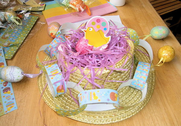 Nest Styled Easter Hat. It looks like a nest at the top of the hat by sticking down a handful of the shredded purple to the top. Then fasten the paper chain around the edge of the bonnet and tie ribbons to fasten the hanging colorful eggs.