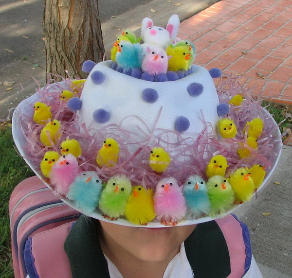 Chicken Easter Hat. Use a crap load of colorful chickens and some purple dots to decorate your Easter hat. It turns out really amazing. It's wonderful to go for the Easter hat parade.