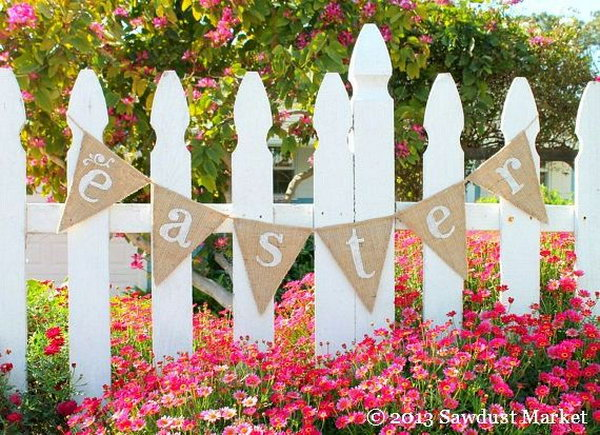 """Easter and Spring Burlap Banner. This reversible Easter banner burlap pennant reads """"Easter"""" in front and has sweet white cots at the back. It looks good at both sides and makes a perfect decor for you Easter festive outlook."""