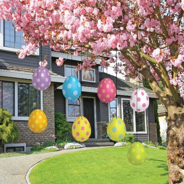 Easter Egg Decoration. Hang colorful Easter eggs under the branches of beautiful flower tree is a simple yet fantastic way to decorate your yard for Easter. These plastic Easter eggs with polka dots are weather resistant and durable.