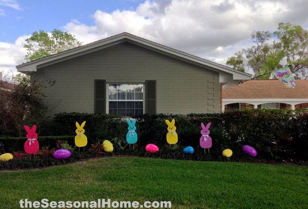 Easter Bunny Pattern Yard. Decorate your yard with colorful bunnies and Easter eggs, it will adds a lot of fun to your photo taken for your lovely kids.