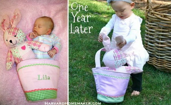 Easter Fun - One Year Later. Take the picture of your kid with the Easter bunny doll in the bag. The infant may sleep In this bag, it's so wonderful to see the kid holding the bad with the Easter bunny bag inside. It seems like they witness the growth of your kid.