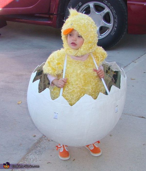 Chicken in the Easter Eggshell. This chicken in the Easter Eggshell without top is a cute infant. Dressed up the Chicken costume and hang the Easter eggshell around your neck.