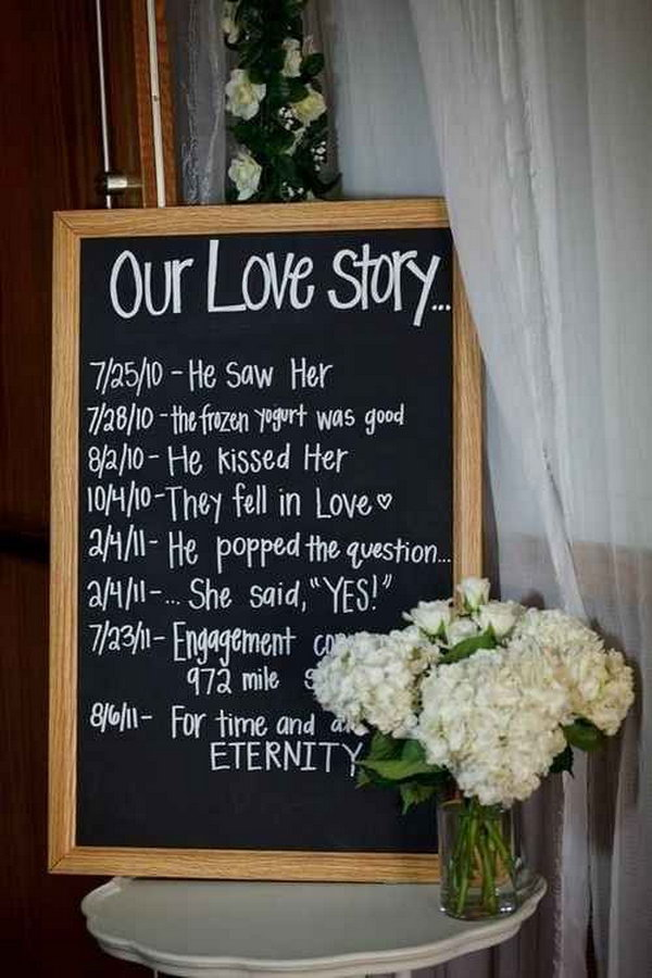 Engagement Party Love Story Board. Announce your wedding date by creating the love story for your sweet relationship following the timeline. It's such a cool idea for the engagement party.