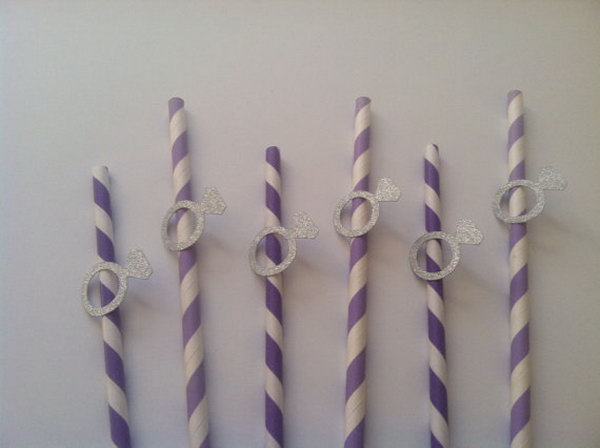 Pretty Paper Straw for Extra Bling. These decorated straws have silver engagement ring on lavender paper. You can customize your colors according to the theme of your cocktail party. It's a perfect addition for your party decoration.