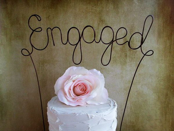 Engaged Party Cake Topper. Announce your engagement with a cake topper for perfect addition to your party decor. You can customize your style as you like.