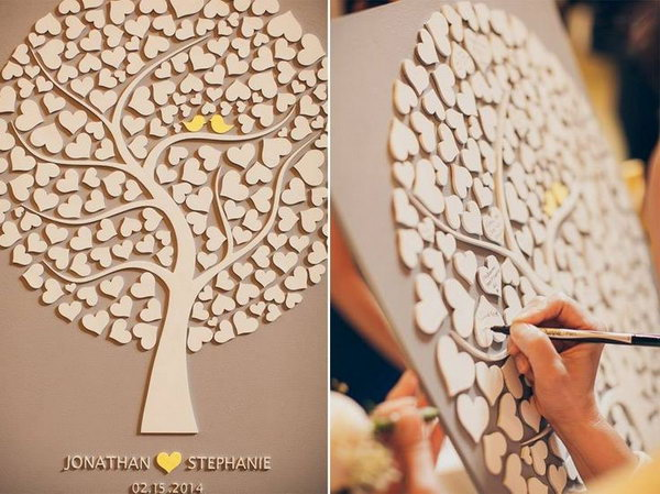 Wood Rustic Wedding Guestbook. This 3D custom wedding guestbook is made from wood, laser cut and laser engraved. There are so many hearts for guests to sign and would be appropriate for nearly 150 guests.