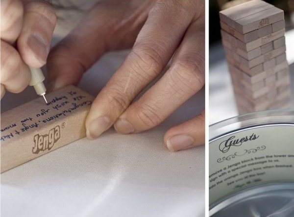 Jenga Guestbook. Invite your guests to take a Jenga stick to sign their sweet blessings and wisdom notes for the happy bride and groom. Every time the couple play the game, it will recall their sweet memories for a long time.