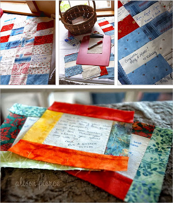 Quilt Guest Book Idea. Invite all your guest to leave a note on a square of your love quilt for your daily use. Every time you see it, it will bring back your sweet memories.