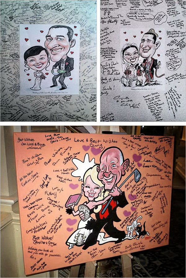 Caricature Sign-in Board. Hire a caricature artist to draw a portrait for the couple and invite guests to sign on it after their arrival. It's funny and the party will be filled with artistic flavor.