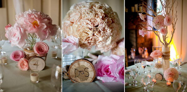 Initial or Number Firewood. Display initials or numbers carved firewood pieces around flower vases for a playful and rustic look to garnish your wedding party and set up the tone.