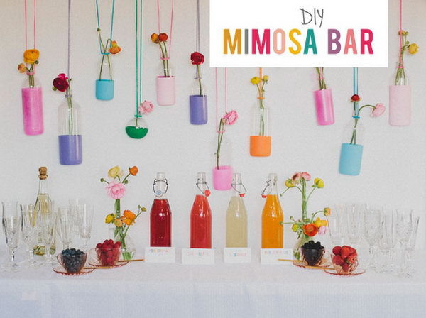 Mimosa Bar Wedding Ideas. Delight your guests with a mimosa bar for a morning or brunch reception in bright colors and fresh flavor.