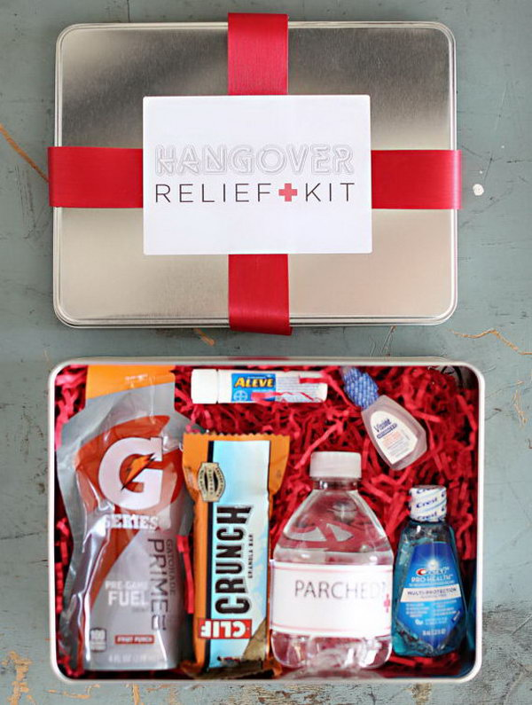 Hangover Kit. It's easy to drink too much for the great celebration. Help your guests with this hangover kit with a package of a drink pouch, snack bar, mini water bottle, travel size mouth wash and eye drops, mints and pain reliever.