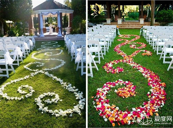 Rose Petal Aisle. It's so romantic for the sweet couple to walk through a rose petal aisle. Cover the lawn with rose petals in a sweet heart shape.
