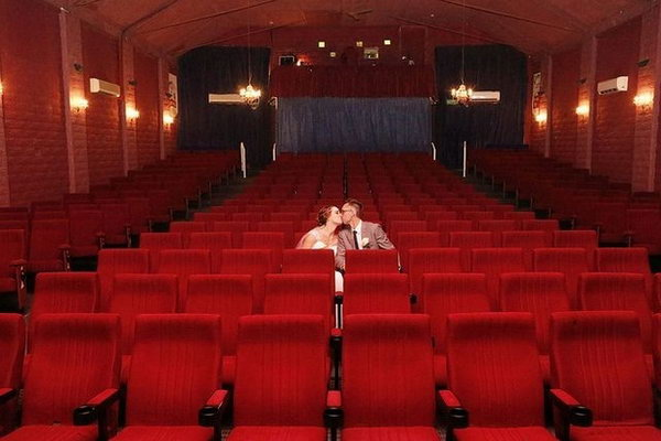 Cozy Theater Wedding. So many people may be confused about how to choose some creative wedding venues. Follow this genuine tip by holding your wedding ceremony at the same place where you had your first date.