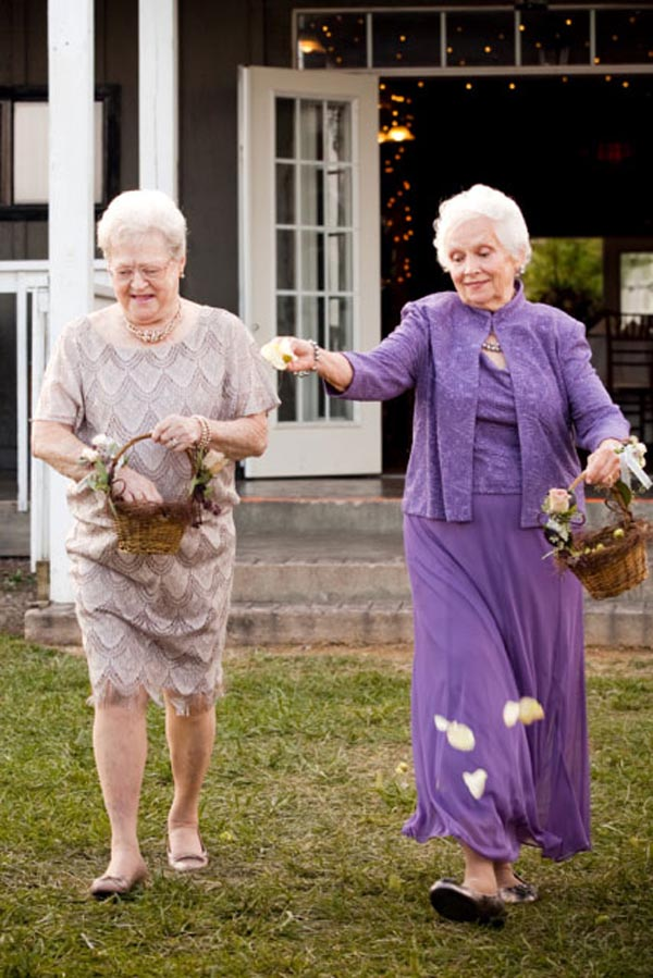 Enlist Grandmas as Flower girl. As it comes to the flower girl of your wedding, so many people take cute little girls as the best candidates. It doesn't have to be so, your grandma with her kind smile will always be perfect to impress your wedding events.
