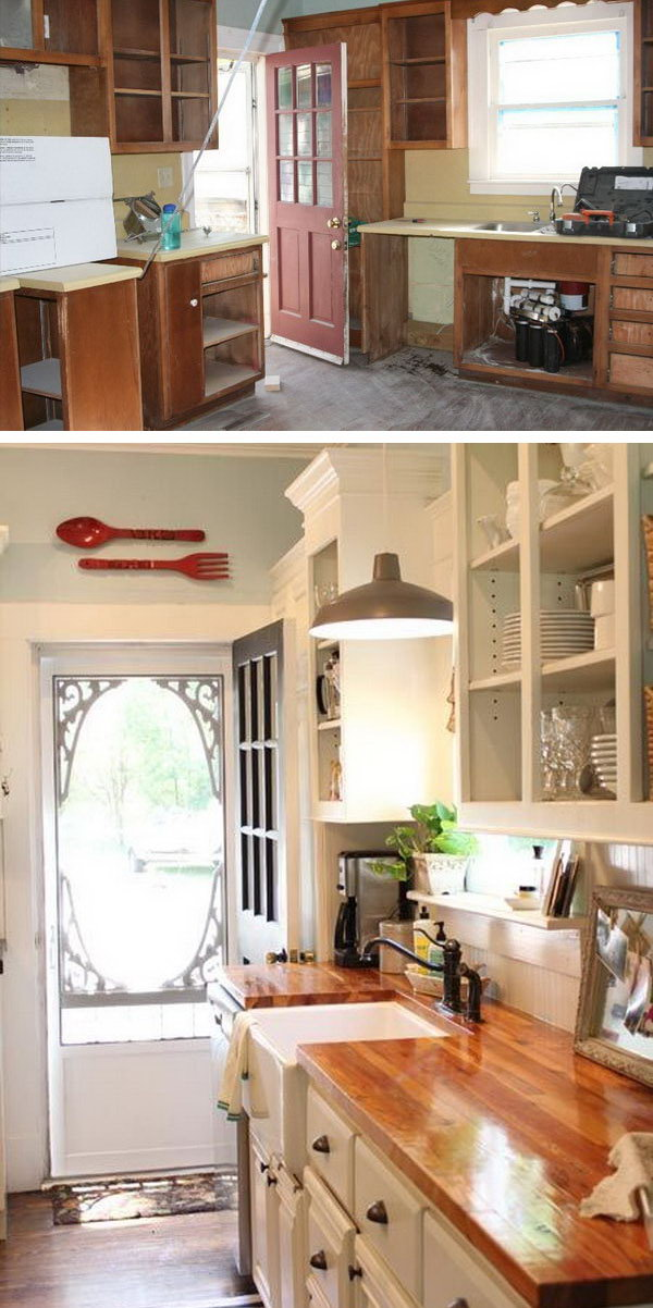 Before and After: Customed Cabinet Door. In this kitchen remodeling you'll see how an 100-year-old farmhouse kitchen turned to a modern stylish space.