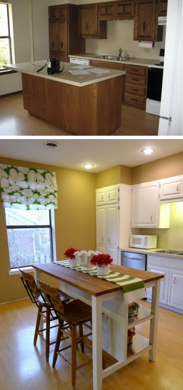 Budget-Friendly Option. I Love the island from IKEA. The space looks much more airy and fresh now. There's no need to spend tons on custom cabinetry and granite counters, especially on a kitchen island. The island was a breeze to assemble and really high quality and very sturdy.