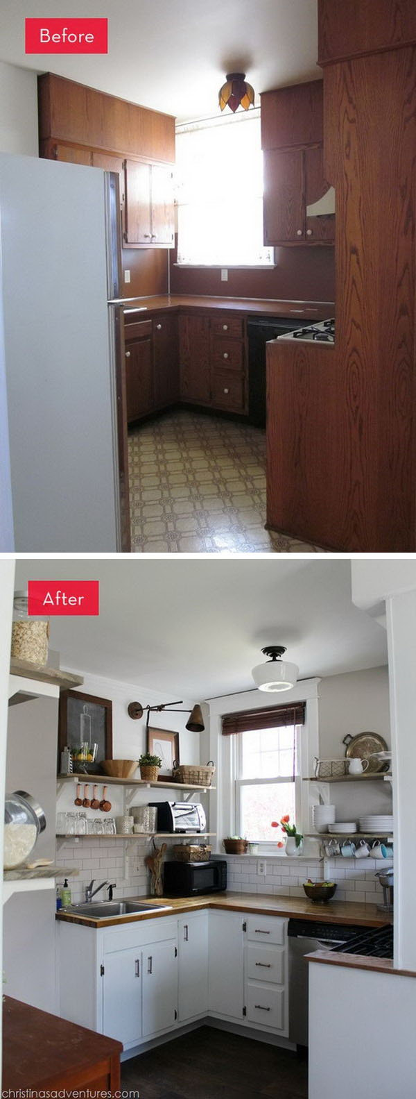 Before and After: A Dark Kitchen Gets A Refreshing New Look. What an amazing improvement. This kitchen was dark and dingy with the brown cabinets and backsplash. But now it's light-filled, airy and inviting.
