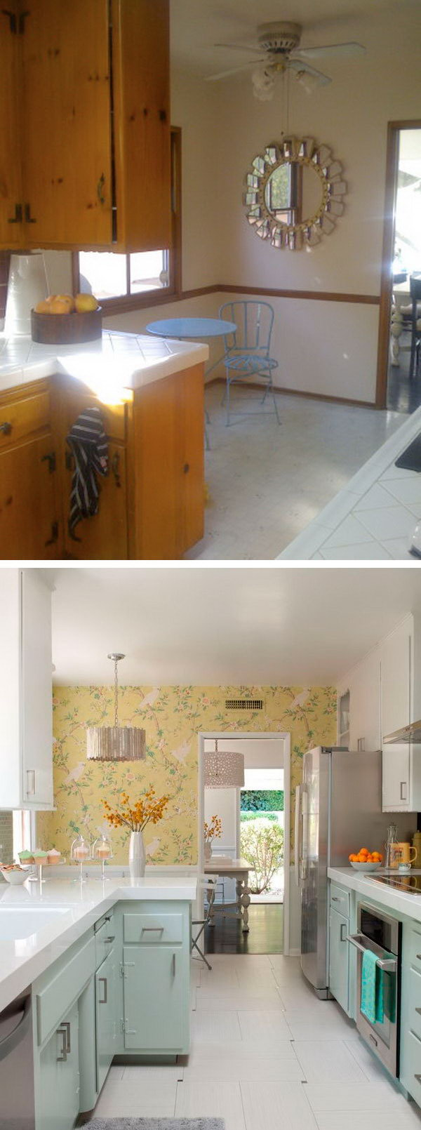 Before & After: A 1950s Kitchen Gets An Affordable Upgrade. Unbelievable renovation with a limited budget and time frame, a major overhaul can be done on a dated kitchen.