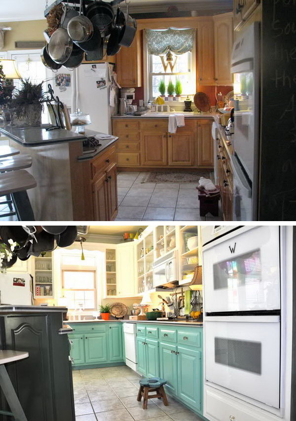 The householder painted the lower cabinets blue and the upper cabinets white, changed upper cabinet facing with glasses and shelves. And the little addition of the dark wood island against the blue and white brings a bit of warmth and richness. What a great transformation to layer a few colorful pieces to freshen up the outdated kitchen.