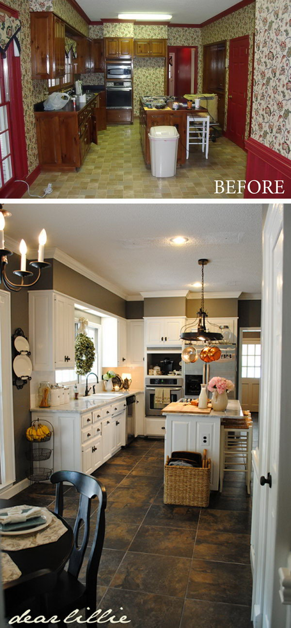 Paint Totally Transform a Kitchen. At the first glance you may assume the changing was high-end and expensive. But when you check out the two pictures carefully your jaw will drop. It's well done on a budget and so quickly with simply changing the paint , renewing the countertops, the sink, the appliances and adding some lighting.