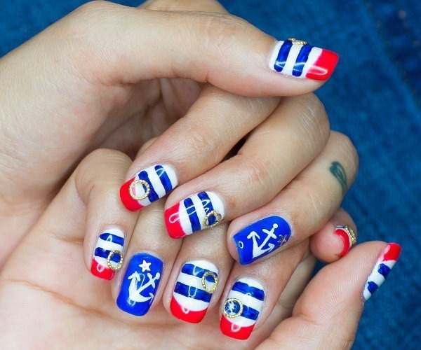 20+ Beautiful Patriotic Nautical Nail Art Ideas