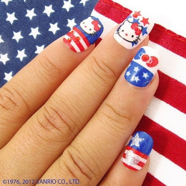 Patriotic Hello Kitty Nail Art