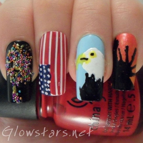Patriotic American Eagle, Flag and Statue Of Liberty Nail Art