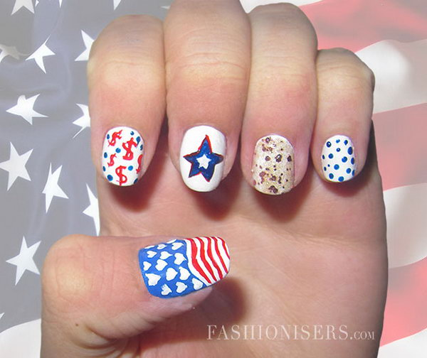 Patriotic Dollar Accent Nail Art