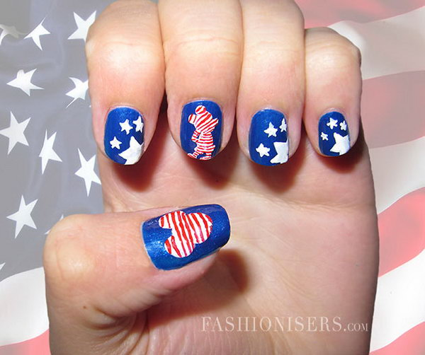 4th of July Patriotic Mickey Mouse Nail Art
