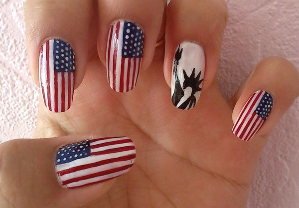 American Flag & Statue Of Liberty Nail Art