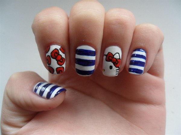 Patriotic Hello Kitty, Stripes and Bows Nail Art